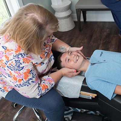Smiling boy receiving care